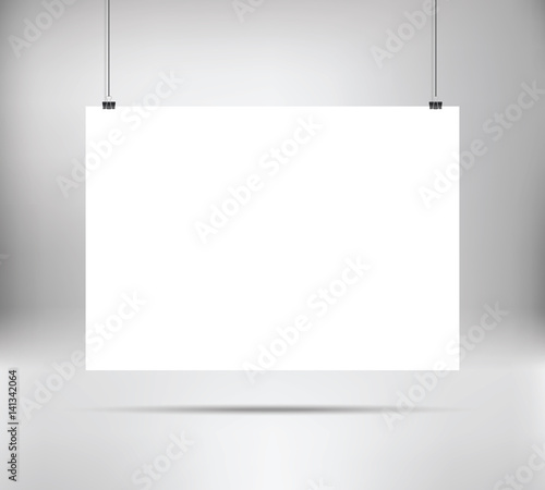 Empty White Vector Horizontal Poster Template Poster Mock Up