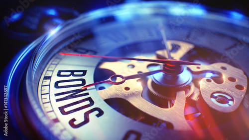 Bonds - Phrase on Vintage Pocket Clock. 3D Illustration. Canvas Print
