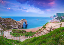 Jurassic Coast Of Dorset With Durdle Door At Sunrise , UK