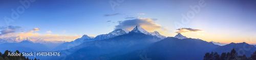 Foto auf Gartenposter Gebirge Annapurna mountain range and panorama sunrise view from Poonhill, famous trekking destination in Nepal.