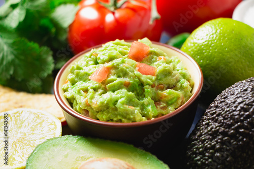 Fotografie, Obraz  Guacamole with ingredients