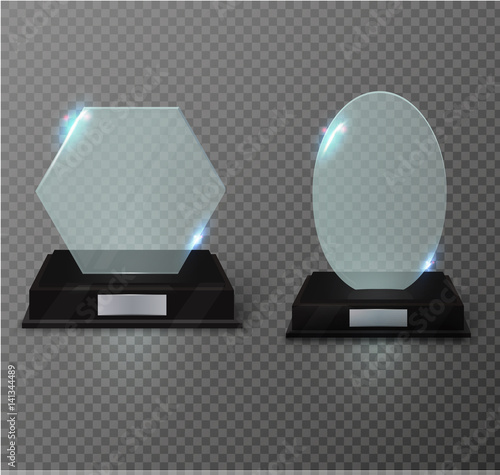 Blank glass trophy award on a transparent background  Glossy trophy