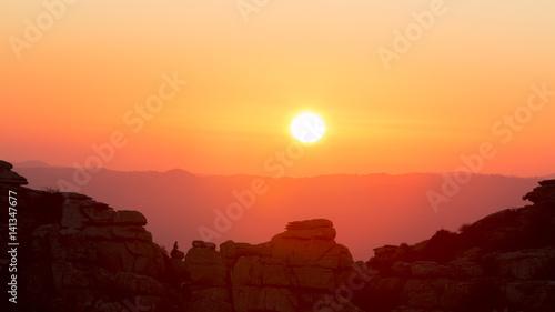 Foto op Aluminium Bergen Sunset at mountain. Torcal in Antequera, Malaga