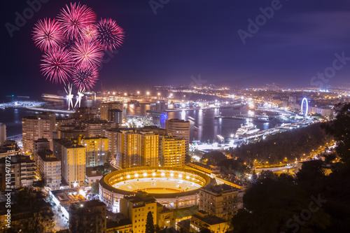 Fireworks above Malaga city