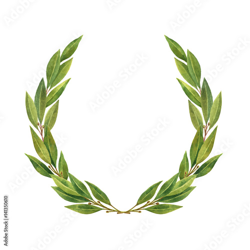 Watercolor Bay leaf wreath isolated on white background. Wallpaper Mural