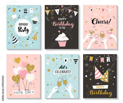 Fotografía  Happy birthday greeting card and party invitation templates, vector illustration