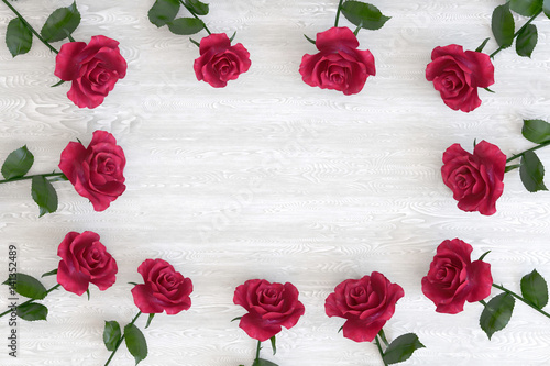 Flowers Roses On Wooden Table Top View 3d Illustration