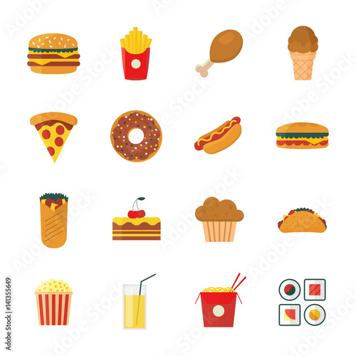 Set Of Colorful Flat Cartoon Design Fast Food Icons Set