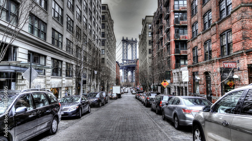 Fototapeta The Manhattan Bridge on Dumbo area obraz na płótnie