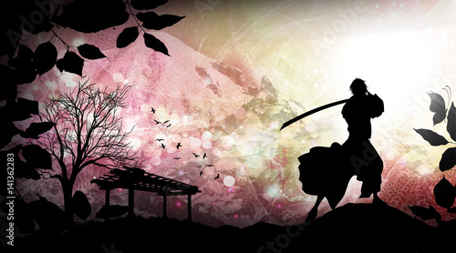 Ancient japanese samurai training silhouette art photo manipulation Canvas Print