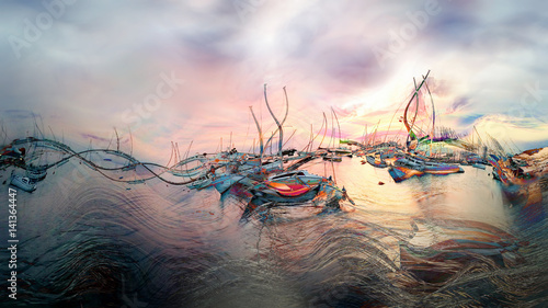 Poster Lichtroze Sunset, dusk at the marina - illustration