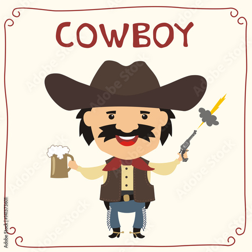 Poster Ouest sauvage Funny cowboy with mug beer in cartoon style. Insulated cowboy with mustache in cowboy hat.
