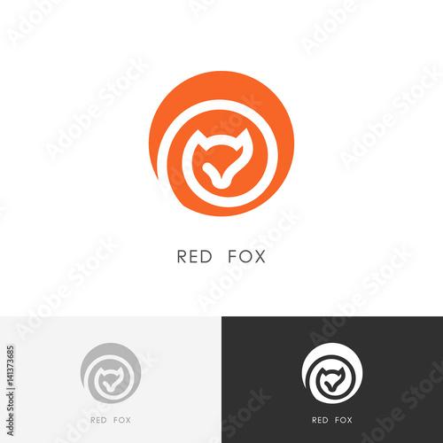 Red fox logo - vixen symbol. Colored wild animal icon. Canvas-taulu
