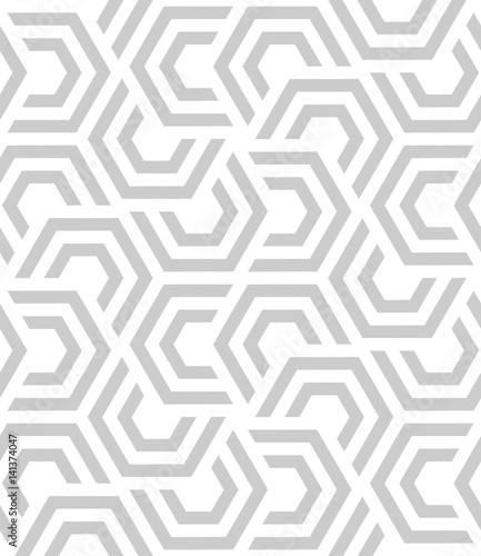 Vector seamless pattern. Modern stylish texture. Monochrome geometric pattern with hexagonal tiles - 141374047