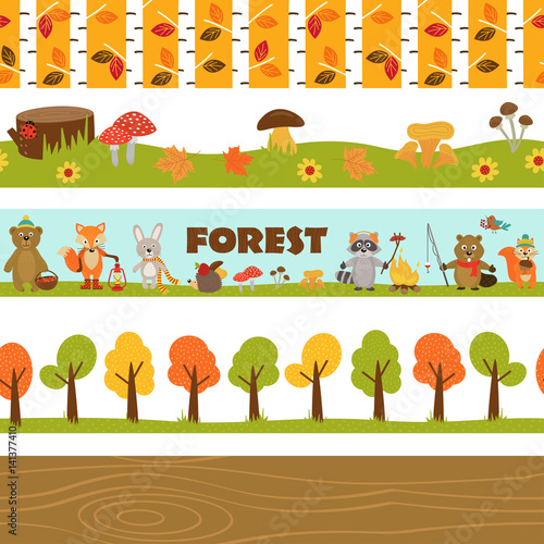 Stampe  set of isolated borders forest