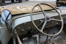 Closeup Of Military Vehicle Steering Wheel