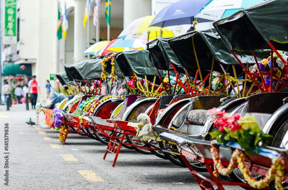 Vintage Trishaw stop beside road for service traveller