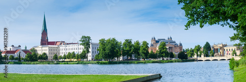 Poster Theater Schwerin with St. Mary's Church, theater, and Museum in the summer as a panorama