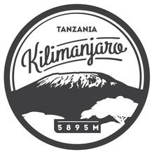 Mount Kilimanjaro In Africa, Tanzania Outdoor Adventure Badge. Higest Volcano On Earth Illustration.