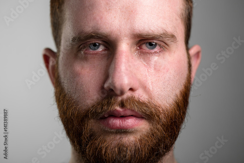 Fotografía Close Up of a Crying Man with Red Beard