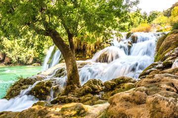 Fototapeta Vintage Chorwacja. Wodospad w parku Krka.