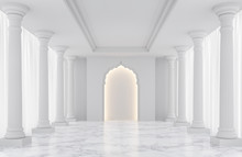 Luxury White Empty Room Classic Space Interior 3d Rendering Image,There Are Decorated With Arches Indian Style,doric Column, White Marble Floor And Hidden Warm Light