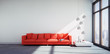 canvas print picture - Rotes Sofa im Loft