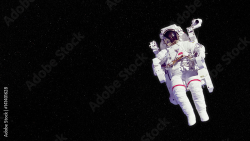 Fotografie, Obraz  astronaut in an EMU (Extravehicular Mobility Unit) floating in deep space - elem