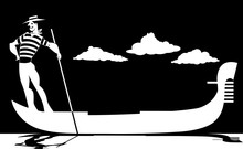 Vector Silhouette Of A Cartoon Gondolier Rowing A Gondola, EPS 8, No White Objects, Black Only