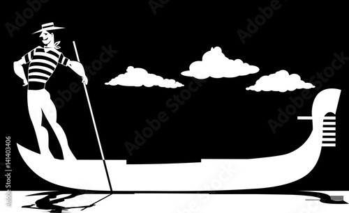 Fotografija Vector silhouette of a cartoon gondolier rowing a gondola, EPS 8, no white objec