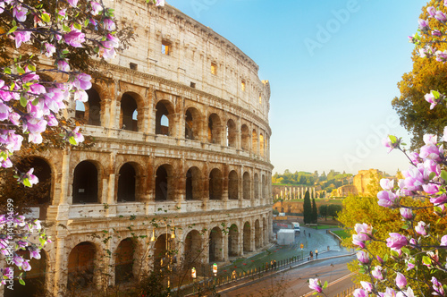 Stickers pour portes Rome close up view of Colosseum building in Rome at spring day, Italy