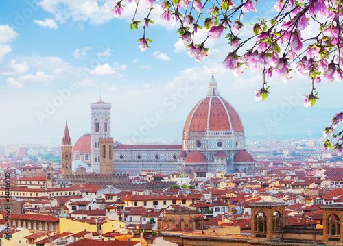 Fotografie, Obraz  cityline with cathedral church Santa Maria del Fiore at spring day, Florence, It