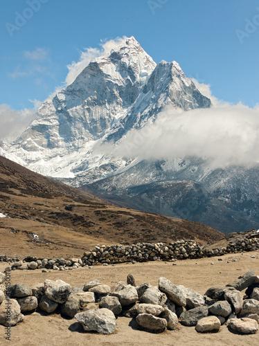 Valokuva Summer yak farm Dusa against the Himalaya peak Ama Dablam - Everest region, Nepa
