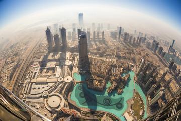 Aerial view of Downtown Dubai from the tallest building in the world, Burj Khalifa, Dubai, United Arab Emirates.