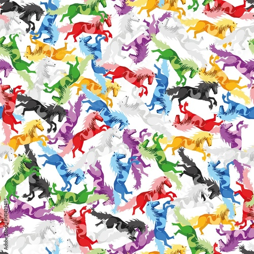 Poster Pony Illustration seamless Pattern Unicorn