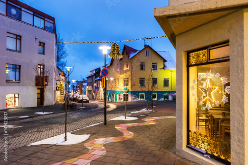 Streets in Reykjavik at Christmas time, Iceland Fototapet