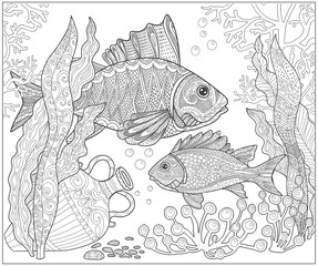 Fish on the seabed, adult coloring book page in doodle style.