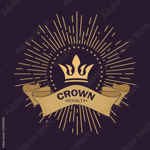 Golden Crown Vector Line Art Logo Design Vintage Royal Symbol Of