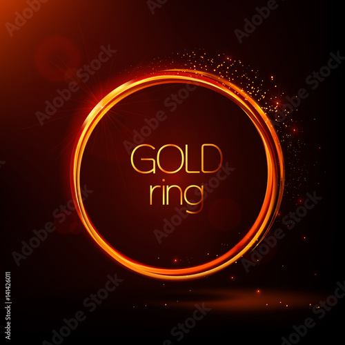 Golden shiny rings. Abstract vector banner. Light effects, particles ...
