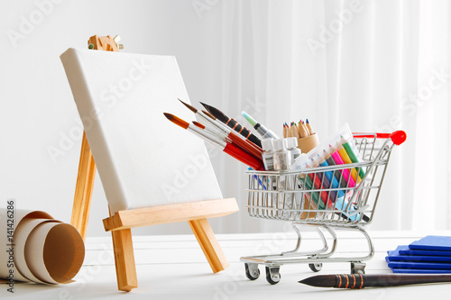 Mini Shopping Cart Full With Artistic Goods For Drawing