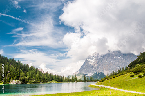 Photo  view on Zugspitze mountain from Seeben lake