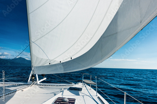 Foto op Canvas Zeilen Sailing yacht catamaran sailing in the sea. Sailboat. Sailing.