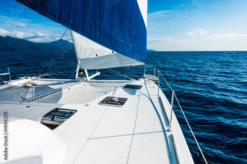 Sailing yacht catamaran sailing in the sea. Sailboat. Sailing. Fotobehang