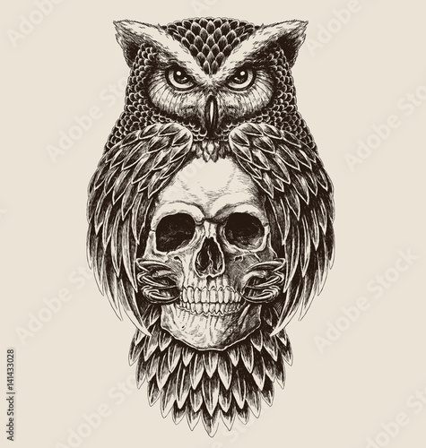 Deurstickers Uilen cartoon Elaborate drawing of Owl holding skull