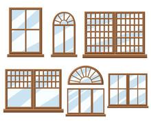Window Icon Set Flat Design Style Vector Illustration.
