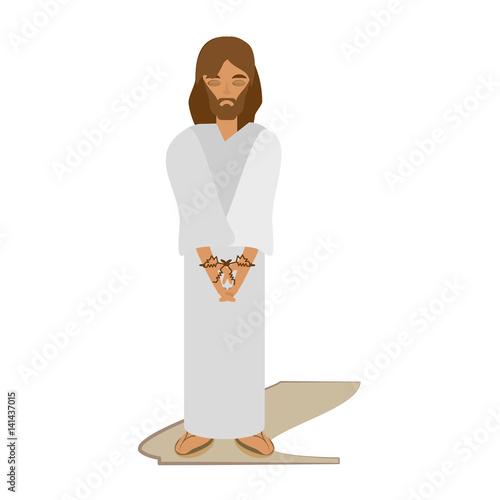 Fotografija jesus christ sentenced death - via crucis vector illustration eps 10