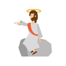 Jesus Christ Preach Pray Vector Illustration Eps 10