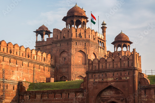 Fortification Red Fort Delhi is a red sandstone fort city built during the Mughal regime. A Mughal Indian architecture structure designated as a UNESCO World Heritage Site in 2007.