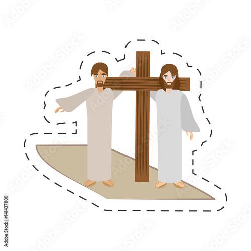 cartoon simon help jesus carry cross vector illustration eps 10 Wallpaper Mural