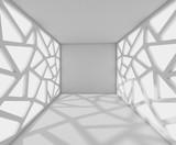 Fototapeta Do przedpokoju - 3D Rendering corridor with abstract facades, interior illustration